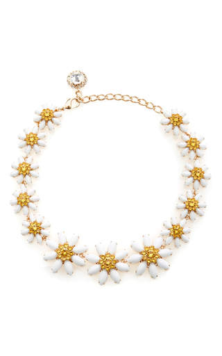 Medium dolce gabbana white crystal and glass edelweiss necklace