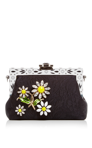 Medium dolce gabbana black silk jacquard evening purse with crystal daisy embellishment
