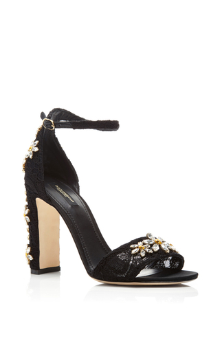 Embellished Heeled Sandals With Floral Appliqué by DOLCE & GABBANA Now Available on Moda Operandi
