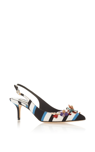 Striped Slingback Heels  by DOLCE & GABBANA Now Available on Moda Operandi