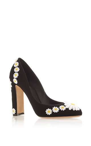 Medium dolce gabbana black wool and goat leather pumps with daisy applique