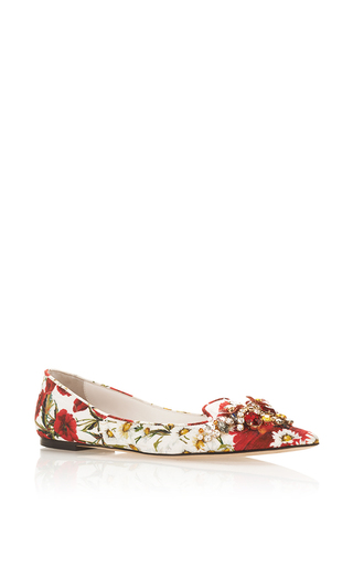 Floral Printed Flats With Embellished Toe by DOLCE & GABBANA Now Available on Moda Operandi
