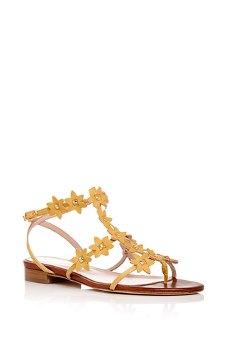 Jenisa Sandals With Floral Embellishment by OSCAR DE LA RENTA Now Available on Moda Operandi