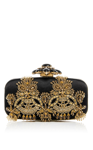 Medium oscar de la renta black goa embellished satin clutch