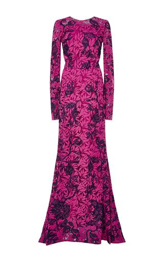 Floral Lace Appliqué Long Sleeved Gown by OSCAR DE LA RENTA Now Available on Moda Operandi