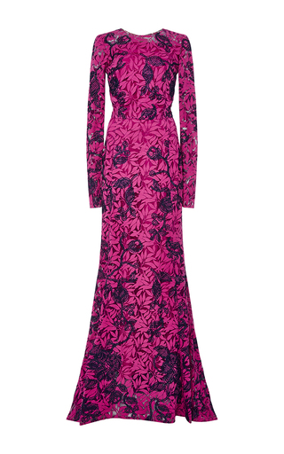 Floral Lace Appliqué Long Sleeved Gown by OSCAR DE LA RENTA Now Available on Moda Operandi