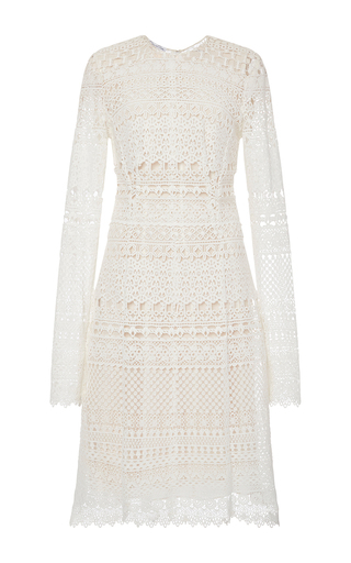 Cotton Blend Lace Cocktail Dress by OSCAR DE LA RENTA Now Available on Moda Operandi