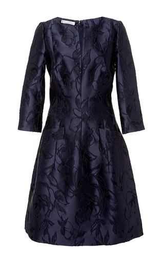 Medium oscar de la renta blue navy floral embroidered dress