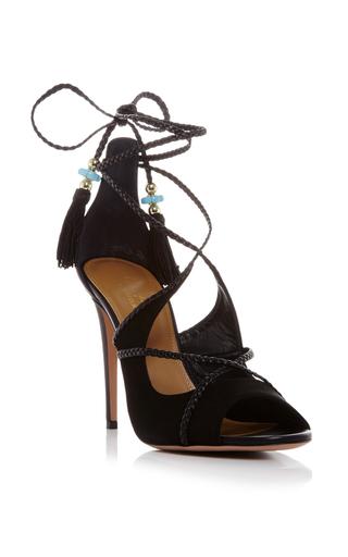 Aquazzura X Poppy Delevingne Leather Moonlight Sandals With Beaded Tassels by AQUAZZURA Now Available on Moda Operandi