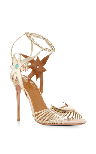 Aquazzura X Poppy Delevingne Leather Moon And Star Sandals by AQUAZZURA Now Available on Moda Operandi