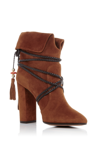 Aquazzura X Poppy Delevingne Suede Moonshine Ankle Boots  by AQUAZZURA Now Available on Moda Operandi