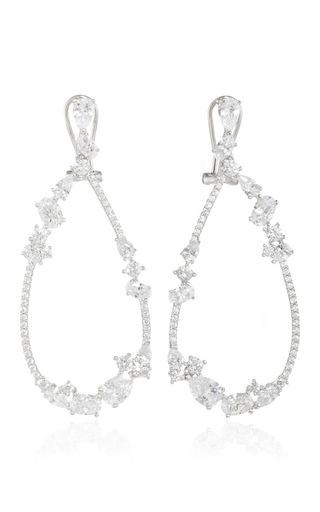 Medium fallon silver rhodium floating stone teardrop earrings