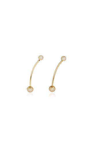 Shalom Pave Ball Weighted Earrings by FALLON Now Available on Moda Operandi