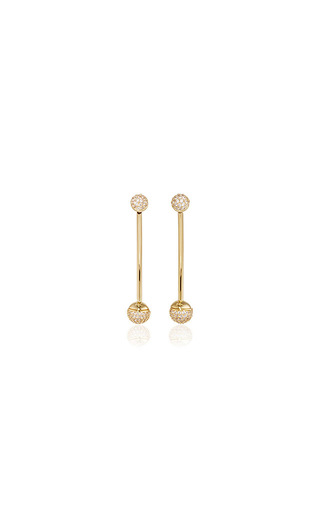 Medium fallon gold shalom pave ball weighted earrings