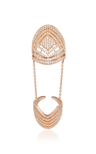 Medium fallon rose gold rose gold pave labyrinth double ring