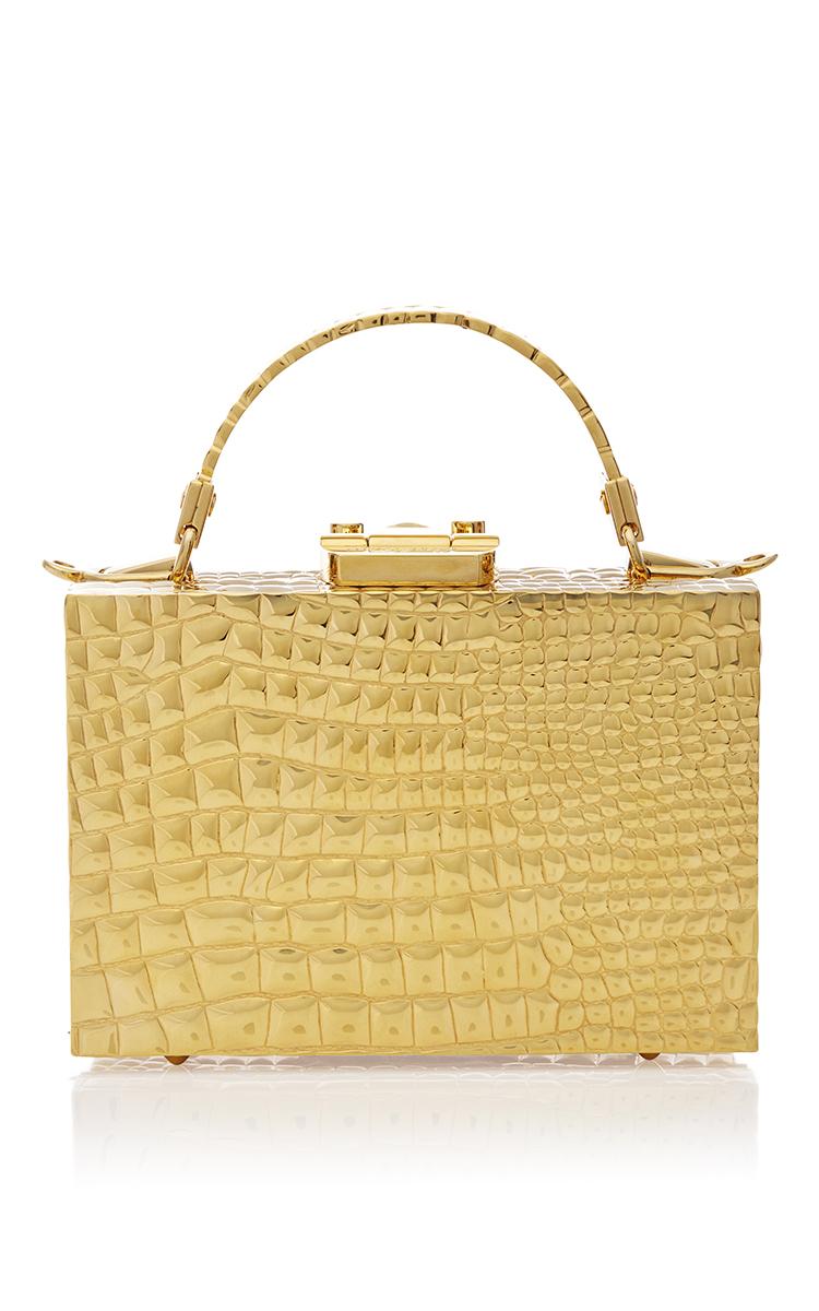 ebcb47458678 Mark CrossMade to Order Mini Grace Box Bag in Crocodile Stamped 18K Gold.  CLOSE. Loading