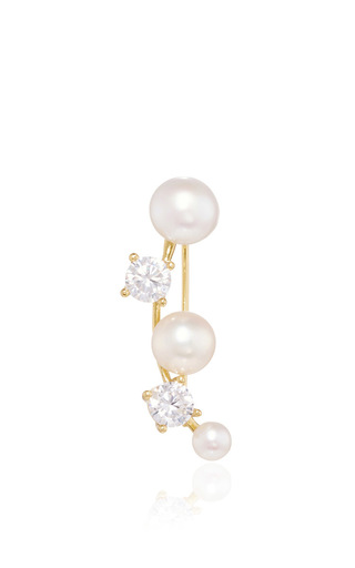 Medium fallon gold olivia pearl and cubic zirconia vine ear cuff
