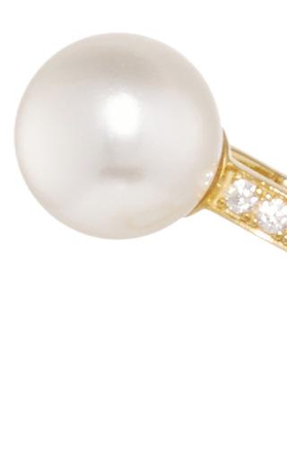 Gold, Pearl, And Diamond Jessica Single Ear Cuff by FALLON Now Available on Moda Operandi