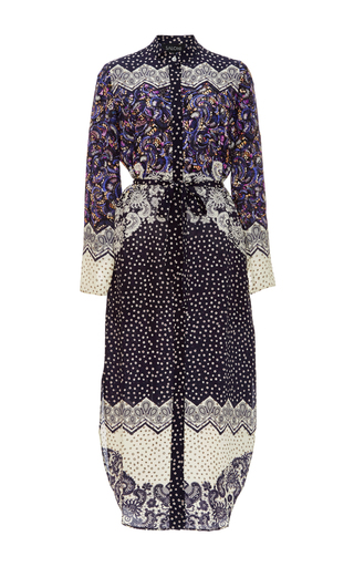 Silk Printed Molly Long Sleeved Dress by SALONI Now Available on Moda Operandi