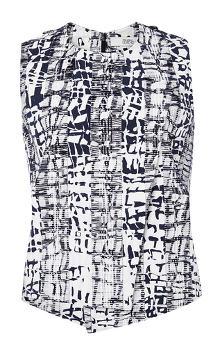 Cotton Blend Abstract Printed Top by PRABAL GURUNG Now Available on Moda Operandi