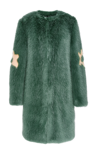 Medium shrimps green pistachio faux fur kylie coat