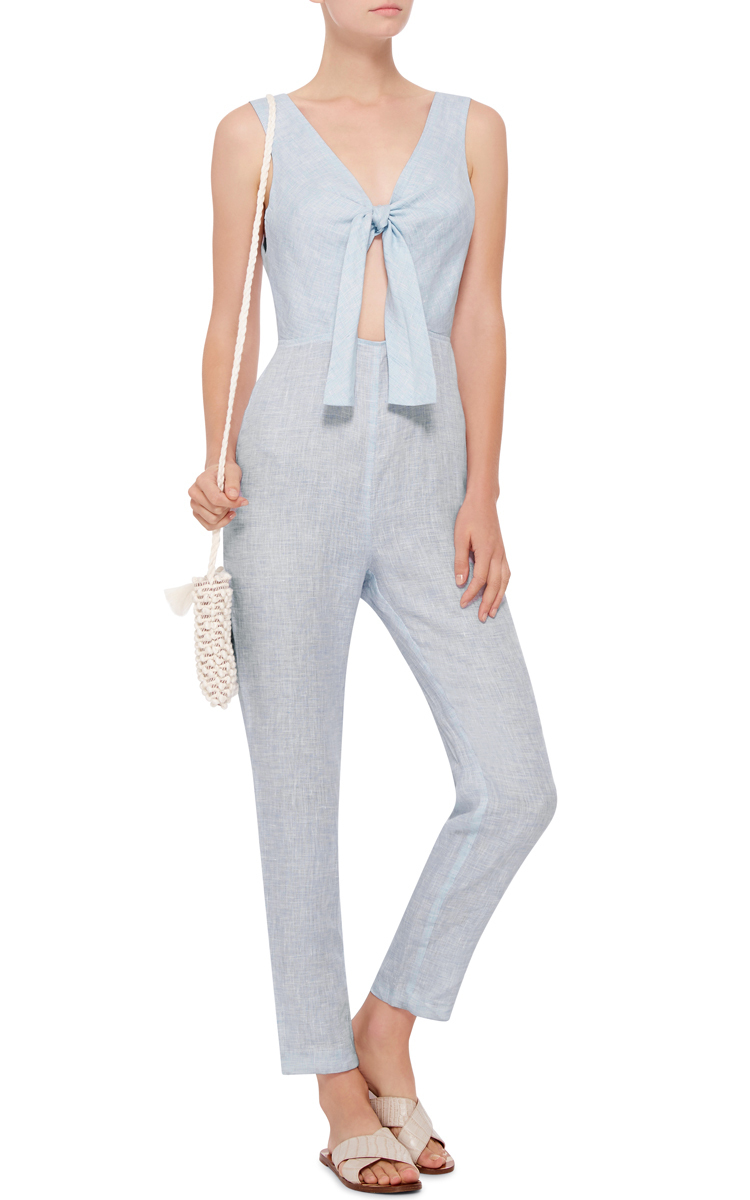 10912b1cfd3 Solid   StripedLight Blue Linen Knot Front Jumpsuit. CLOSE. Loading