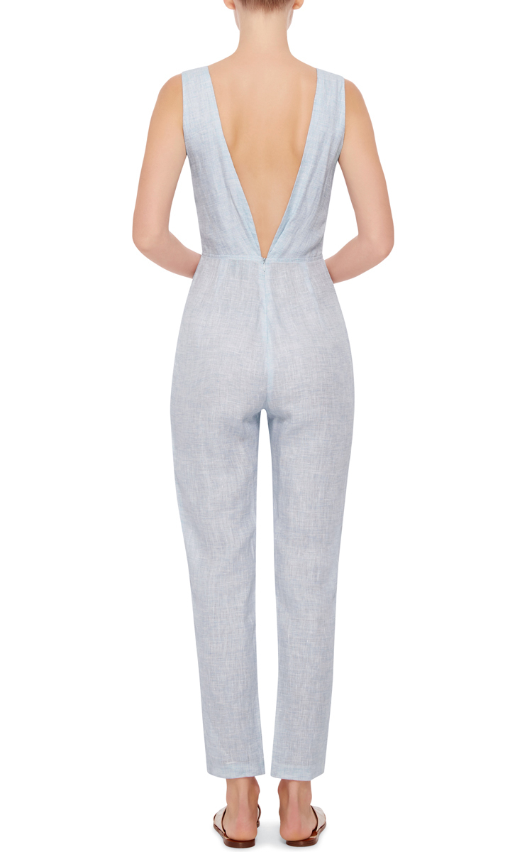015294ec6e3 Solid   StripedLight Blue Linen Knot Front Jumpsuit. CLOSE. Loading. Loading