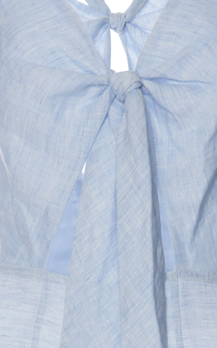 407958e4e74 Solid   StripedLight Blue Linen Knot Front Jumpsuit. CLOSE. Loading.  Loading. Loading