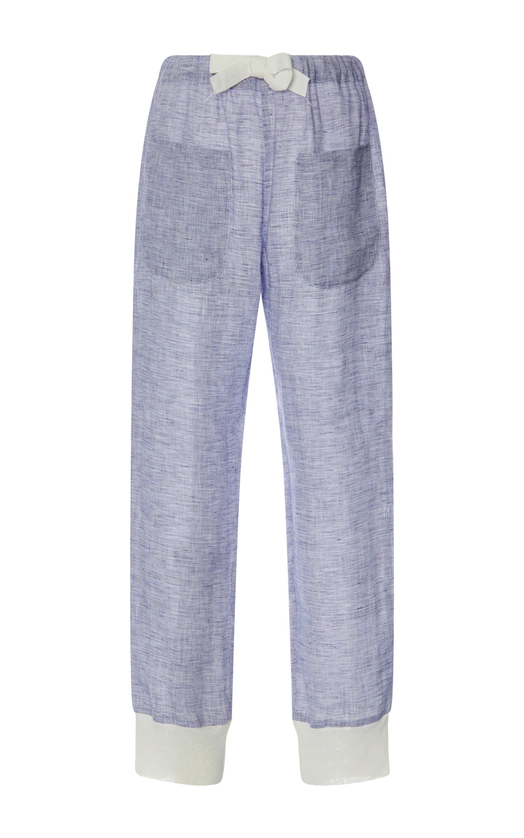 Linen Lounge Pants with Contrast Trim by Solid & | Moda Operandi