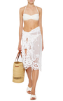White Cotton Layna Scallop Lace Sarong by MIGUELINA Now Available on Moda Operandi