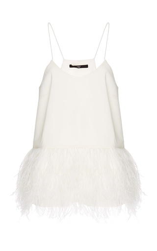 Medium tibi white stretch faille tank with feathered hem