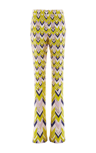 High Waisted Jacquard Chevron Flared Pants by GIAMBATTISTA VALLI Now Available on Moda Operandi