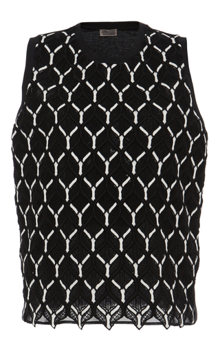 Medium giambattista valli black cotton macrame sleeveless blouse