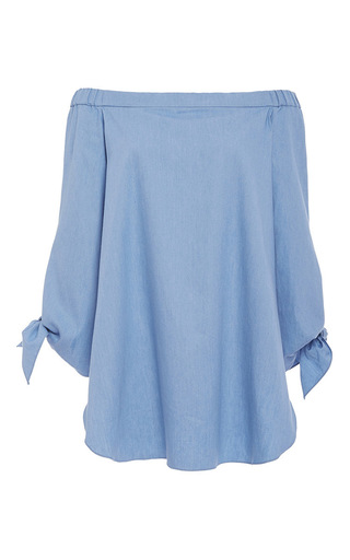Medium tibi blue cotton twill off the shoulder tunic