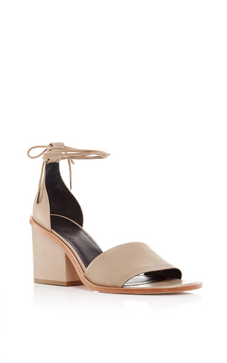 Nude Nappa Leather Clark Heeled Sandals by TIBI Now Available on Moda Operandi