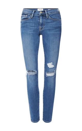 Medium frame denim medium wash le skinny de jeanne jeans with distressed knees