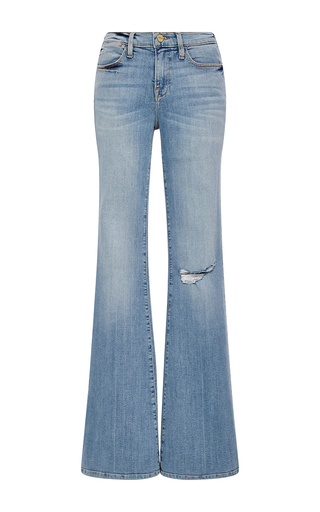 Medium frame denim light wash le high flared jeans with distressed knee