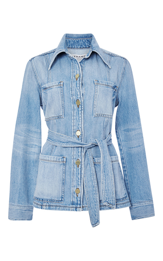 Le Patch Pocket Jacket With Waist Tie By Frame Denim