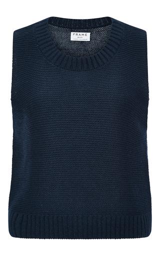 Medium frame denim navy le crop cotton silk and cashmere sleeveless sweater