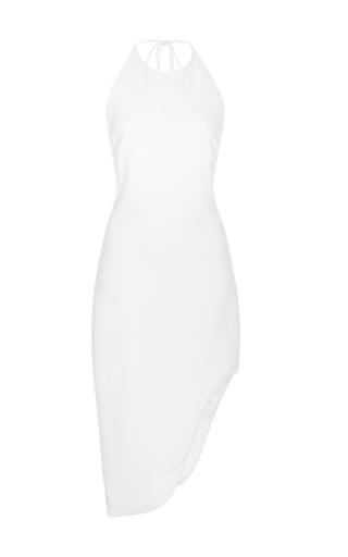 Medium cushnie et ochs white sleeveless asymmetrical halter dress