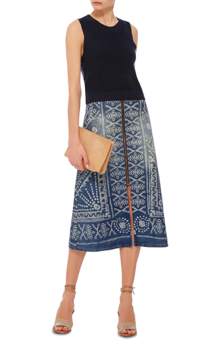 Bleached Print Denim Zip Skirt  by SEA Now Available on Moda Operandi