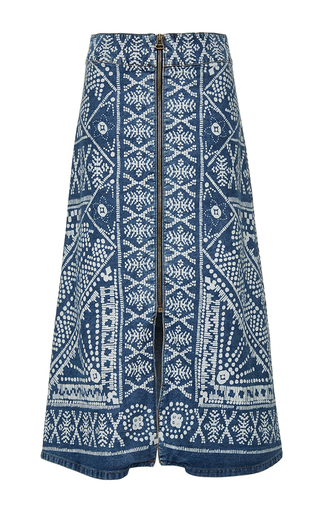 Medium sea medium wash bleached print denim zip skirt