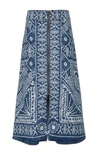 Medium sea medium wash bleached print denim zip skirt