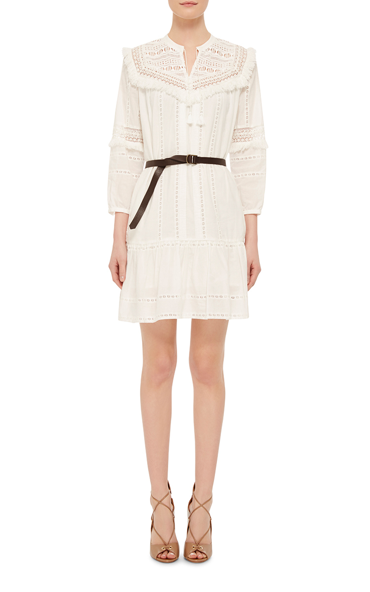 striped lace belted dress by sea moda operandi