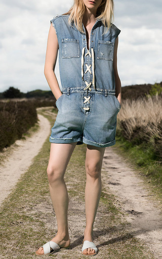 Lace Up Denim Playsuit by SEA Now Available on Moda Operandi