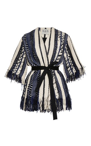 Medium sea blue braided chevron jacket