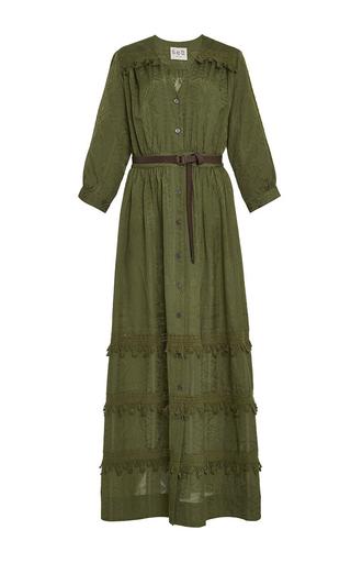 Medium sea olive button down tassel dress