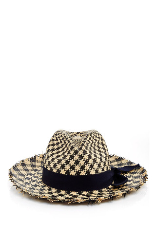 Medium sensi studio print two toned houndstooth panama hat