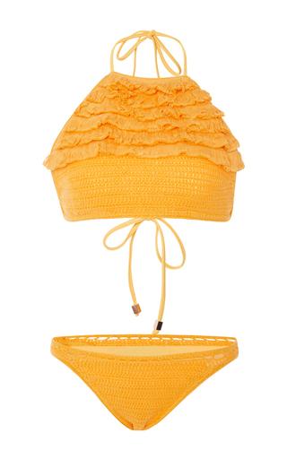 Medium suboo yellow castaway crochet bikini set