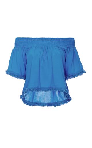 Medium suboo blue blue lagoon cotton off the shoulder top